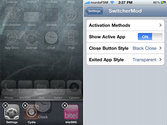 SwitcherMod SwitcherMod: Tweak To Add New Functions To The Native Multitasking Switcher Bar
