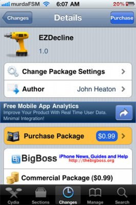 ezdecline 266x400 EZDecline: Decline/Answer A Phone Call, Even When The iPhone Is Asleep/Locked