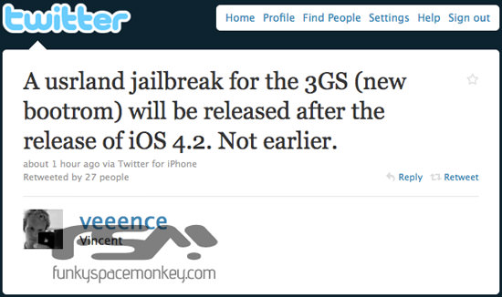 iPhone 3Gs userland jailbreak A Userland Jailbreak For iPhone 3Gs With New Bootrom To Drop After iOS 4.2 Is Released