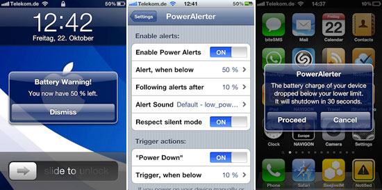 poweralerter PowerAlerter: Alerts You When Your iOS Devices Battery Drops Below A Certain Percentage