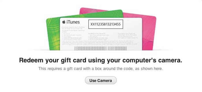 how to redeem gift cards using your camera in itunes 11. Black Bedroom Furniture Sets. Home Design Ideas